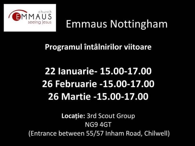 Programul intalnirilor bisericii Emmaus Nottingham